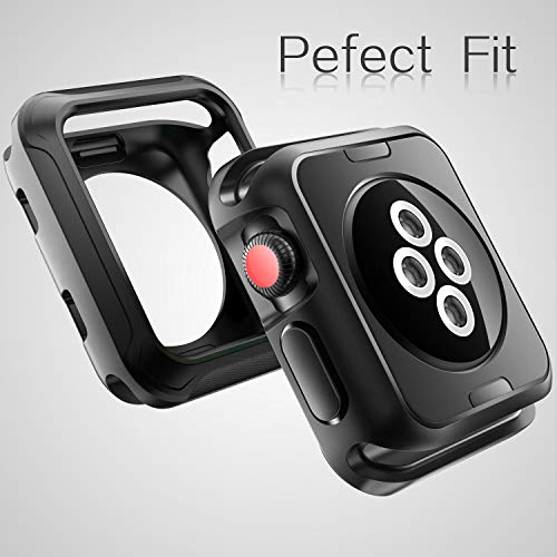 V85 Compatible Apple Watch Case 42mm, Shock-proof and Shatter-resistant Protector Bumper iwatch Case Compatible Apple Watch Series 3, Series 2, Series 1, Nike+,Sport, Edition Black by V85 (Image #4)