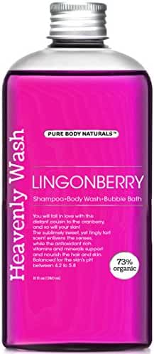 Pure Body Naturals Lingonberry 3-in-1 Shampoo / Body Wash / Bubble Wash, 8 Fl. Oz.