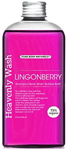 Pure Body Naturals Lingonberry 3-in-1 Shampoo / Body Wash / Bubble Wash, 8 Fl. Oz.