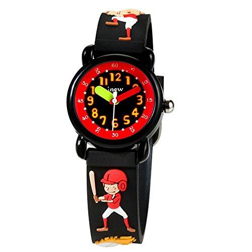 Watch Friends Time Teacher (Kid Watch 3D Cute Cartoon Silicone Wristwatches Quartz Watch 30M Waterproof Time Teacher Gift for Little Girls Boy Children (Baseball boy, Black2))