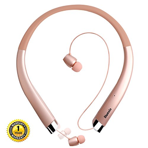 Bluetooth Headphones Bluenin Bluetooth V4.1 Neckband Retractable Earbuds Sweatproof Sport Wireless Headphones Stereo Noise Cancelling Headset with Mic (rose gold)