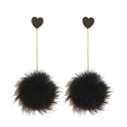 18K Gold Plated Black Onyx Agate Heart With Big Black Plush Balls Long Tassel Dangle Drop ()