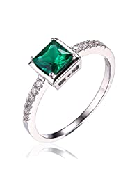 JewelryPalace Square 0.5ct Simulated Green Nano Russian Emerald Solitaire Ring 925 Sterling Silver