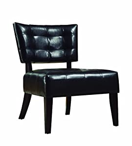 Amazon.com: Homelegance Warner Faux Leather Accent Chair, Dark ...