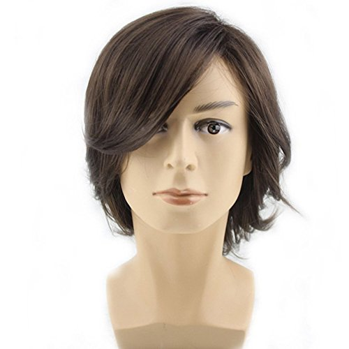 [RightOn Men's Medium Style Wavy Bouncy Side Swept Fringe Bang Hairstyle Wig with Wig Cap (Dark] (Sit And Be Fit Costume)