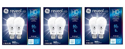 - GE HD+ Reveal 60 Watt Replacement LED Dimmable General Purpose A19 Light Bulbs (6-Pack)