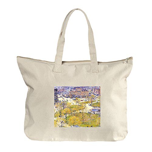 Union Square In Spring (Hassam) Canvas Beach Zipper Tote Bag - Square At Union Shopping