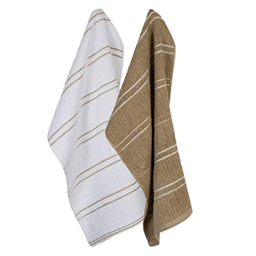 Ribbed Terry Kitchen Dish Towels (16x26 Set of 6 - Assorted Mocha Brown & White) Absorbent & Durable for Wiping Down Countertops, Dusting, or Drying Dishes