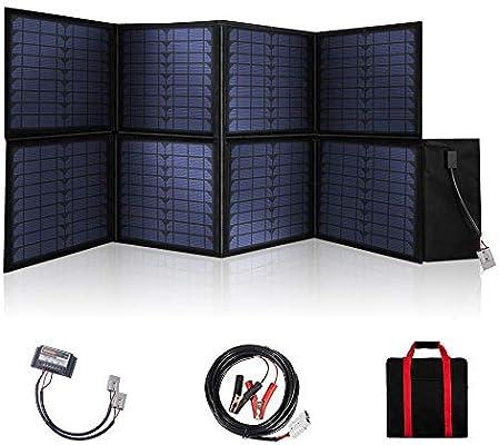 SARONIC Panel Solar Plegable Portátil de 120W y 12V con un Controlador de Carga Solar de 10A para Caravanas, Mítines para Autocaravanas, Ferias Comerciales, Oficinas Móviles Sistema de 12V (Negro): Amazon.es: Electrónica
