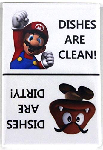 Clean/Dirty Super Mario Bros. Dishwasher Magnet. End Kitchen Problems! 100% Made in the USA!