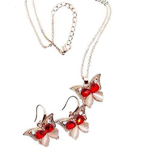 - Noopvan 1 set Cat Eye Butterfly Earrings Necklace Jewelry Set Bride Bridesmaid Wedding Two-Piece Set Jewelry Crystal Pendant Necklace + Earrings (Red)