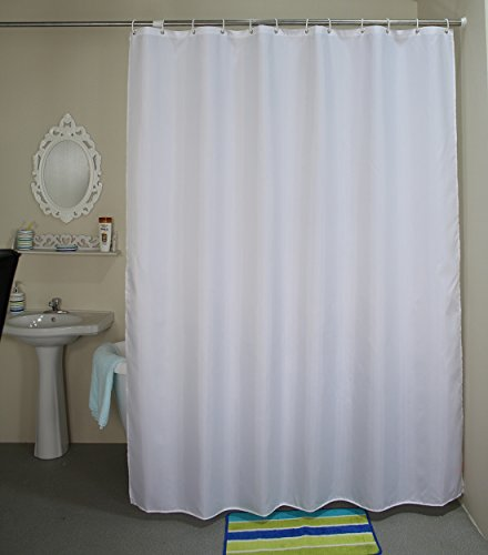 Stall Shower Curtain, Welwo Fabric Shower Curtains,Liners Set with Hooks,Rings for Bathroom- 36 x 72, Solid/Pure White (Shower Stall Fabric Curtain Liner)