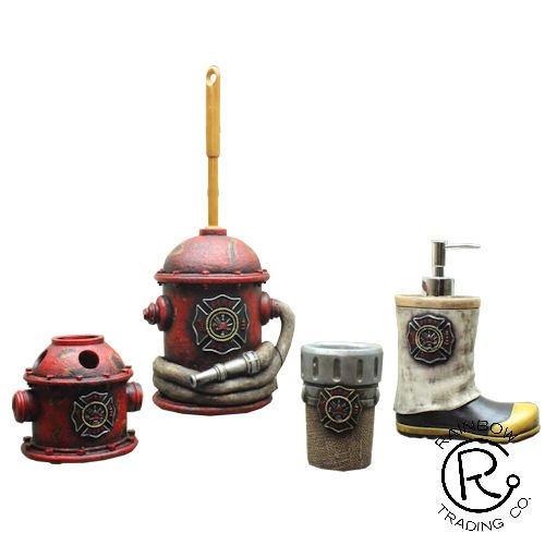 Maltese Cross-themed Bathroom Accessory Set includes Boot shaped Soap Pump, Drinking Cup, Toilet Brush and Toothbrush Holder, Made by Rainbow especially for Our Hero Firefighters