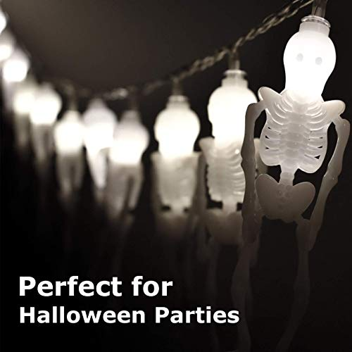 AIRERA Halloween Decorations, 3 Meters 20 LED String Lights, Waterproofed Spooky 3D Skeleton Lantern, AA Battery Powered Lamps for Indoor Outdoor for Halloween Party Decor(White Cold Light