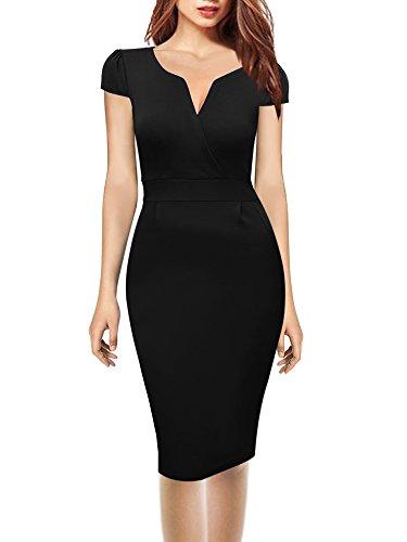 Oxiuly Women's V Neck Retro Business Stretch Cotton Pencil Work Midi Dress OX173 (XL, Black)