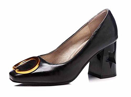 Mujer Anillos Alto 2018 Grande Corte Tacón Tamaño Metal Zapatos Primavera Casual Zapatillas Black Nuevo ptpgw