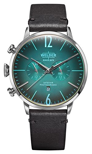 Welder Moody Black Leather Dual Time Watch with Date 45mm