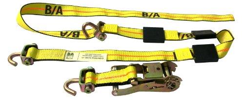 2 Car Hauler Trailer (BA Products BA-SJR100-x4, Set of 4 Car Hauler, Transport Trailer Tie Down Straps & Ratchets)