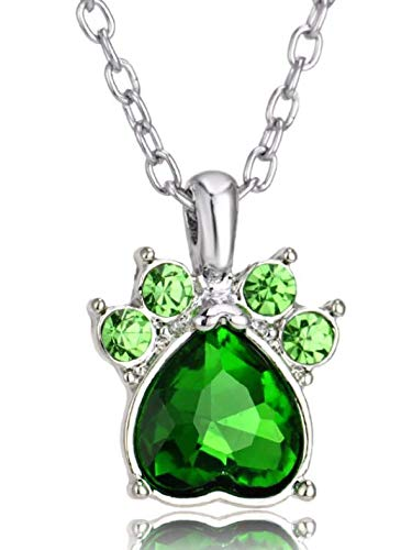 Crystal Rhinestone Green Dog Claw Necklace Paw Birth Stone Pendant Women Animals Pet Lover Necklaces Jewelry Collar Gifts - Shipped from USA from Collectibles
