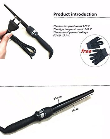 Citizens And Saints Christmas - Hair Curler -Hair Curlers For Women - Digital Temperature Control Styling Tools Ceramic Cone Hair Curling Iron Tong Hair Curler Roller Curling Wand - Hair Curler Clips