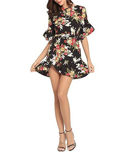 Mode Robes Weekendy Rond Col Vacances Imprimer pour Plage Irrgulire Robes Robes Femmes Black de Jupes ZqwdxBq