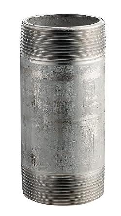 """Merit Brass 6032-1200 2"""" X 12"""" NPT Male, Schedule 40 Welded, 316/316L Type Stainless Steel Pipe Nipple"""