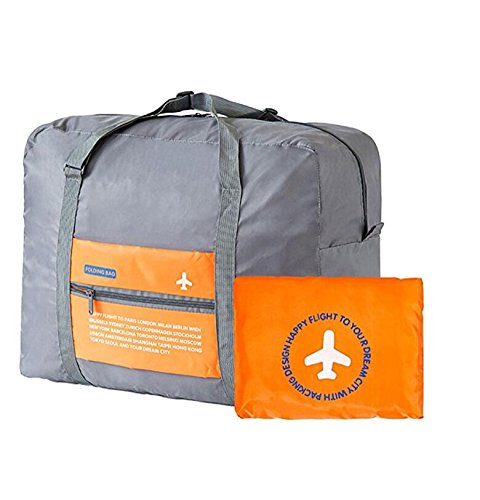 Travel Bag Waterproof Foldable Super Lightweight Large Capacity Storage Luggage Outdoor Bag Doubtless Bay (orange) (Orange Small Rolling Luggage)