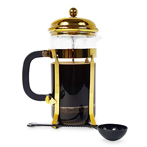 French Press Coffee Maker Presser 34 Ounce Capacity Stainless Steel Plunger Two BONUS Stainless Mesh Filters Included