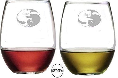 Cat Yin Yang Set of 2 Stemless Wine Glasses Etched Engraved Monogrammed Hand Made
