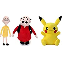 Nihan Enterprises Set of 3 Pcs. Motu Patlu 40 cm and Pokemon (Pikacchu) 28 cm (Multicolor)