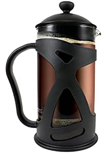 KONA French Press, Stylish 34oz Coffee Tea Espresso Maker With Reusable Filter, Comfortable Handle & Glass Protecting Durable Black Shell