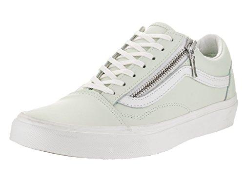 Vans Unisex Old Skool Zip (Leather) Zephyr Blue/Blanc de Blanc Skate Shoe 4 Men US/5.5 Women US