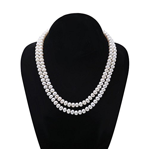 JYX Pearl Double Strand Pearl Necklace Classic Flatly Round White Freshwater Cultured Pearl Necklace for ()