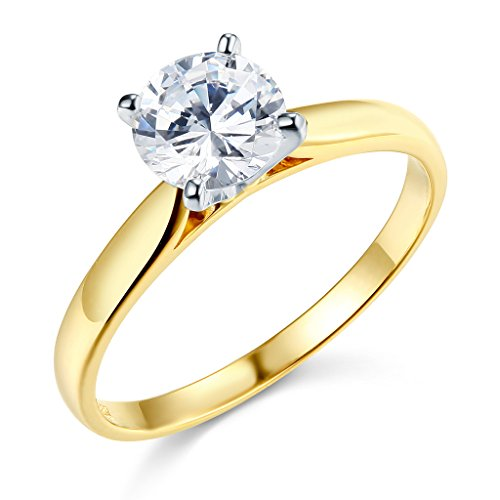 (TWJC 14k Yellow Gold SOLID Wedding Engagement Ring - Size 8)