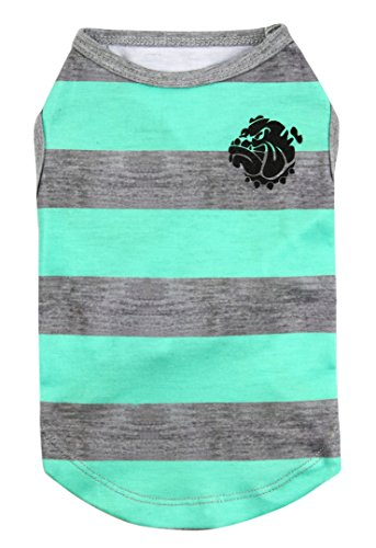(Puppy Face Pet Clothes Apparel Dog Shirts with Wide Light Green and Grey Strips for Small Extra Small Medium Large Extra Large Dog or Cat(XXS/XS/S/M/L/XL/XXL))