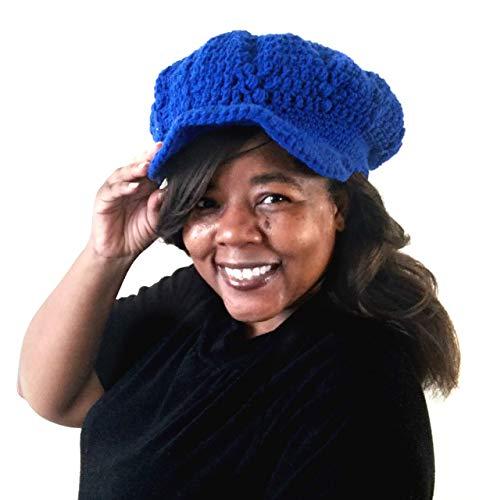 Womens Fall Winter Crochet Ski Cap with Visor