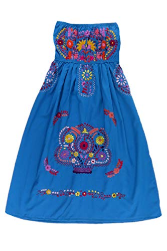 Mexican Clothing Co Womens Mexican Dress Strapless Puebla Poplin one Size Blue 9576 (Strapless Poplin)