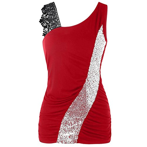 iTLOTL Womens Fashion Lace Glittering Skew Collar Sequined Tank Tops Sleeveless Vest(S,Red )
