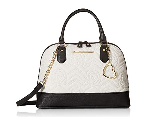 - Betsey Johnson Women's Dome Satchel Cream/Black One Size