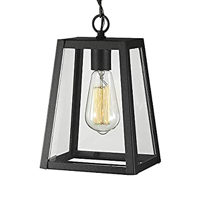 Emliviar Exterior Hanging Lamp, 1-Light Outdoor Pendant Lantern in Black Finish with Clear Glass, 1803AW2-H