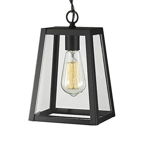 Emliviar Exterior Hanging Lamp, 1-Light Outdoor Pendant Lantern in Black Finish with Clear Glass, 1803AW2-H (Pendant Fixtures Outdoor Lighting)