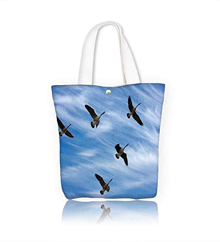 Canvas Zipper Tote Bag Flock of Canada Geese in V for ion during spring migration in silhouette against acloudy sky Reusable Canvas Zipper Tote Bag Printed 100% Cotton W16.5xH14xD7 INCH