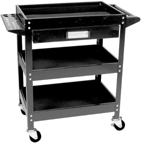 Performance Tool W54006 Locking (Black) 3 Shelf Utility CART W/Drawer ()