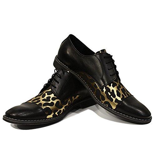 Modello Raffaello - Handgemachtes Italienisch Leder Herren Gold Oxfords Abendschuhe - Rindsleder Weiches Leder - Schnüren