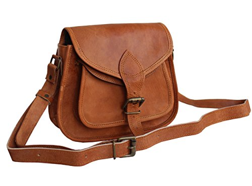 Artandcraft-Women New Handmade Natural Tan Pure Goat Leather Vintage Messenger Bag (Tan Vintage Goat)