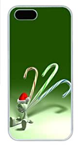 3D Christmas Smile PC Case Cover For Iphone 5/5S Cover White