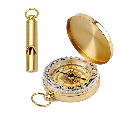 FUTURESTEPS Brass Compass - Includes Solid Brass Whistle - Survival Set - 105 Decibels - Survival Kit - Solid Brass Compass - Carry on Necklace or Keychain - Two Pieces