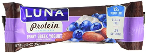LUNA PROTEIN - Gluten Free Protein Bar - Berry Greek Yogurt - (1.59 Ounce Snack Bar, 6 Count)