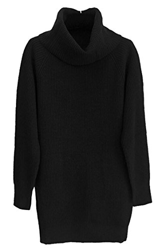 392755f8da9 Pink Queen Women s Loose Turtleneck Oversize Long Pullover Sweater Dress  Black M