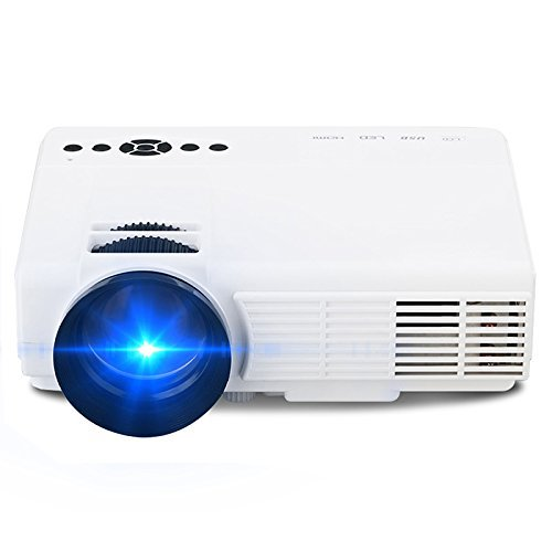 Projector (Warranty Included), XINDA 2018 Update HD Video Projector Home Theater Cinema Portable LED Projector with USB/HDMI/VGA/AV Support up to 1080P-White PRO-CA-PQ5W